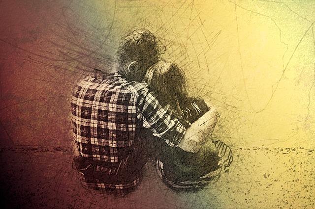 Kresba-sedící muž a žena držící se kolem ramen